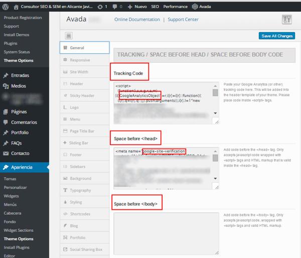 Añadir script, pixel o codigo de seguimiento en Avada WordPress
