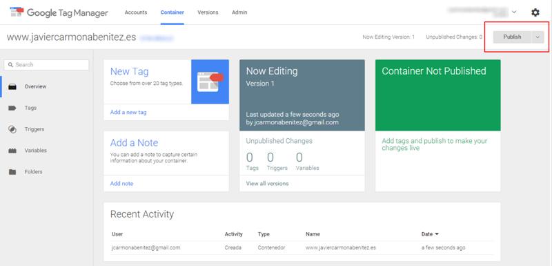 publicar contenedor tag manager