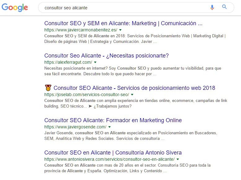 consultor seo alicante google serps