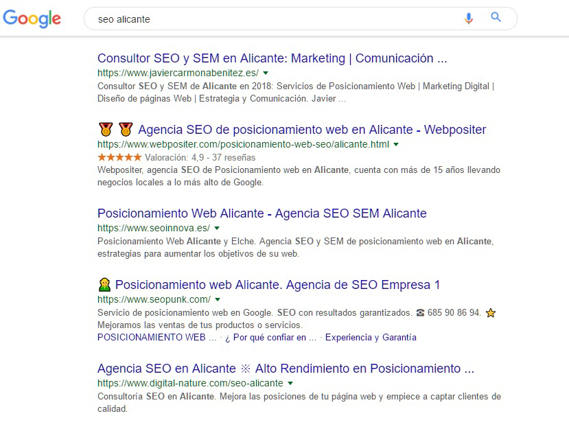seo alicante google serps