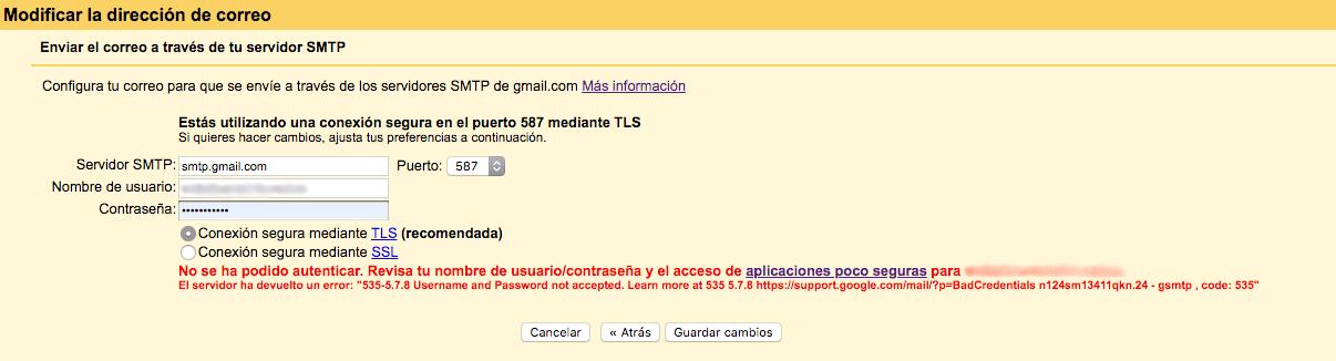 error de conexión con gmail